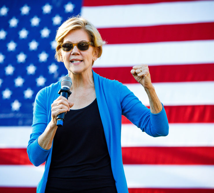 Hollis, NH - September 27, 2019: Democratic 2020 U.S. presidential candidate and Massachusetts Senator Elizabeth Warren campaigns at Lawrence Barn in Hollis, New Hampshire.
