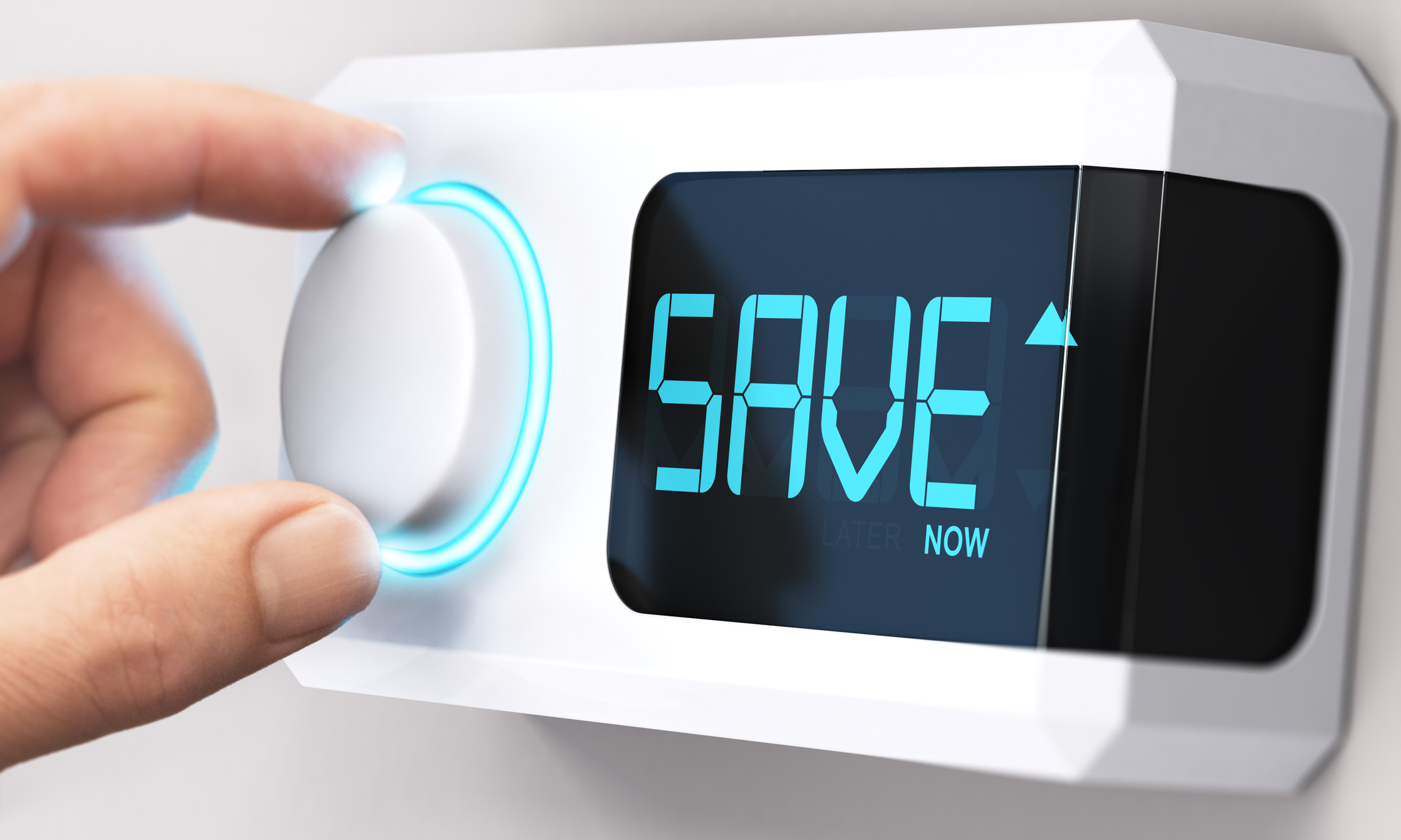 "A thermostat with the word ""save"" on the digital display"