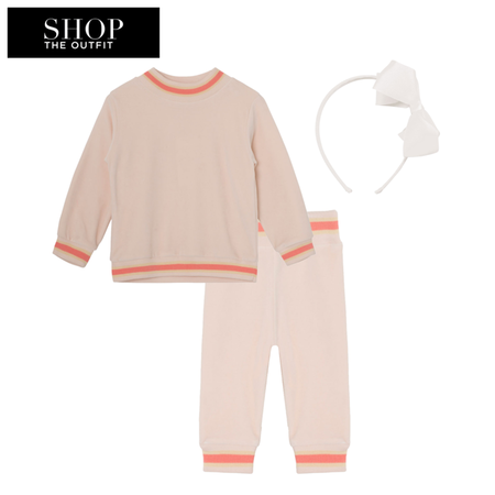 Shop the look for Mini A Ture Jannic Blouse Velour Sweater (Cream/Pink, 3 m)