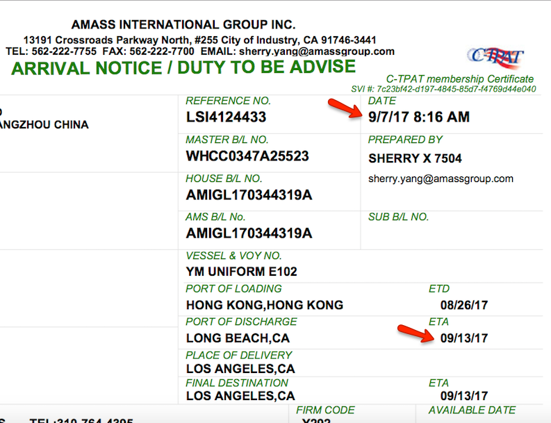 Amass Arrival Notice Early Arrival document
