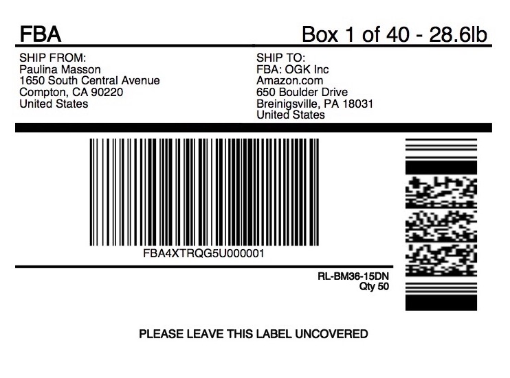 Amazon FBA Shipping Label Example