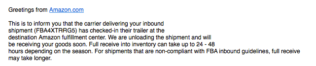 Amazon FBA Shipment Checked-in email