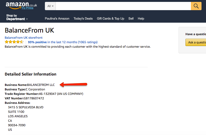 Amazon UK Seller Info Screenshot