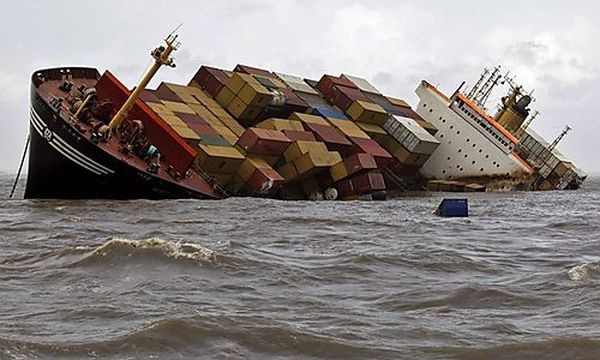 Cargo Ship Accident containers falling out
