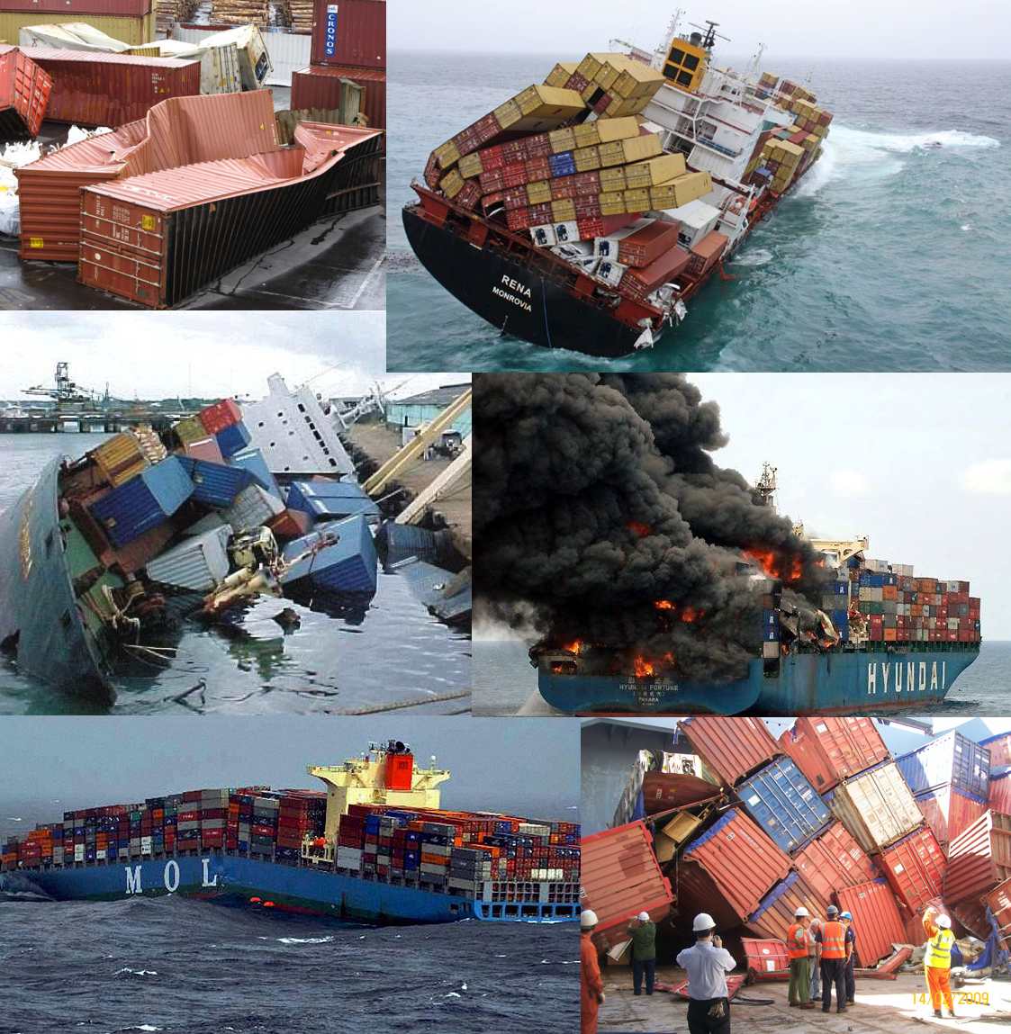 Cargo Ship Accidents Fire Container Damage Ship flipped over