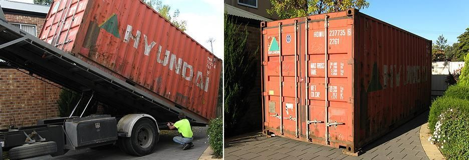 Container in Driveway Loading Cargo