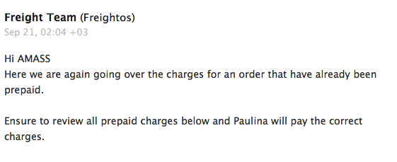 Freightos email to Amass extra charges
