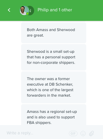 Freightos suggestions about Amass and Sherwood Freight Forwarders