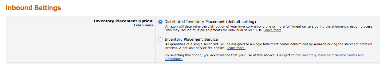 Amazon FBA Inventory Placement Service Settings