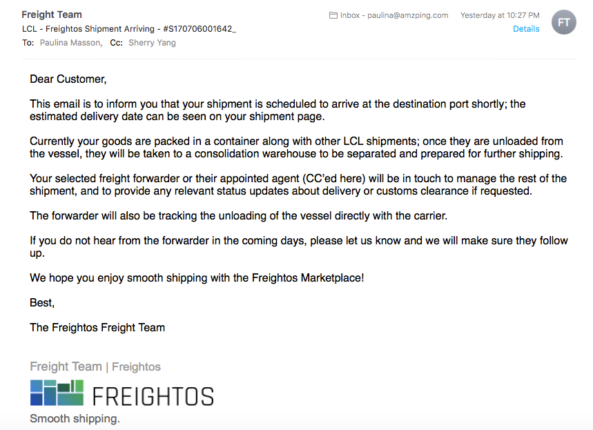 Freightos Shipment Arrival Email