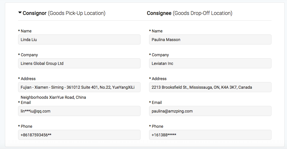 Freightos screenshot consignor consignee amazon fba