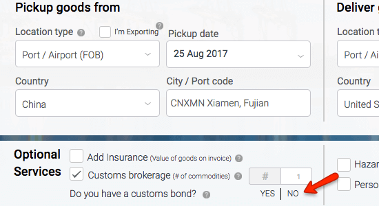 Freightos Customs Bond Selection on Quote Search