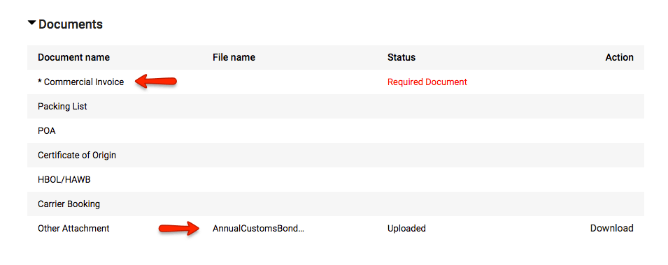 Freightos screenshot documents upload customs bond commercial invoice
