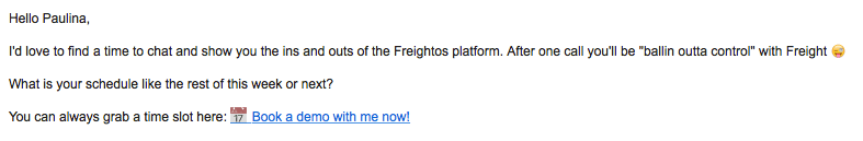 Freightos first sales email