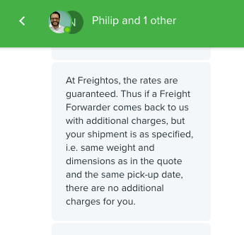 Freightos guarantees their rates