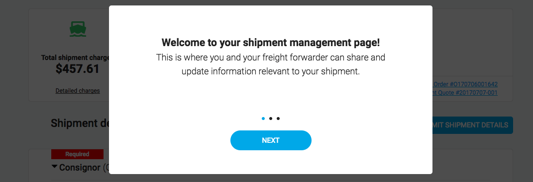 Freightos screenshot shipment management page welcome message