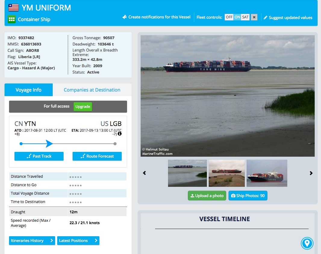 Marine Traffic YM Uniform Cargo Ship Picture Screenshot