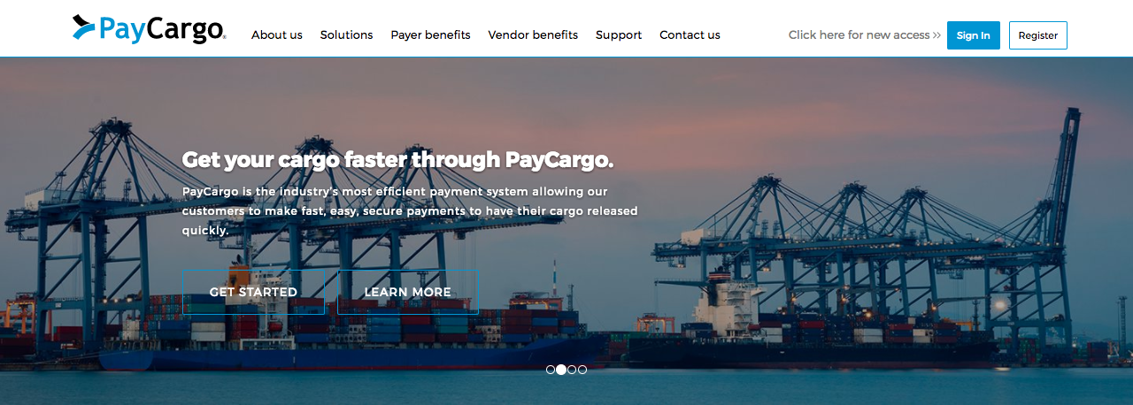 Pay Cargo Homepage Screenshot