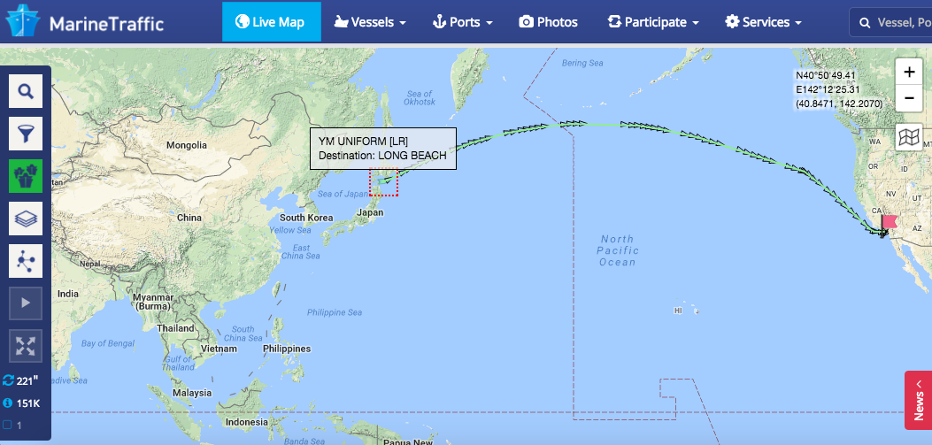 Marine Traffic YMUniform passing Japan going to LA
