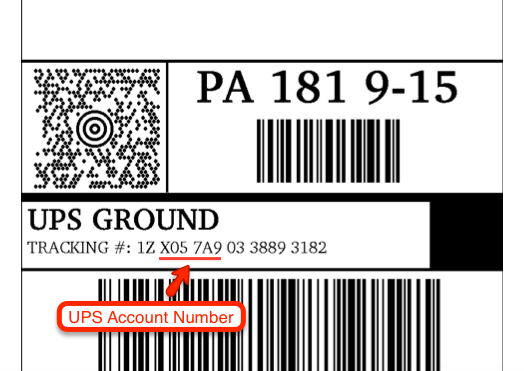 UPS Ground Amazon Account Number from Tracking Number