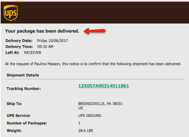 UPS delivery Cargo Delivered Email Notification