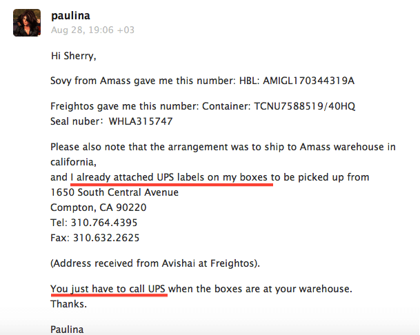 Paulina email to Freightos about UPS Labels Amass