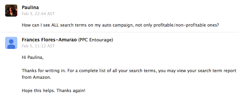 PPCEntourage support reply by email about search terms list