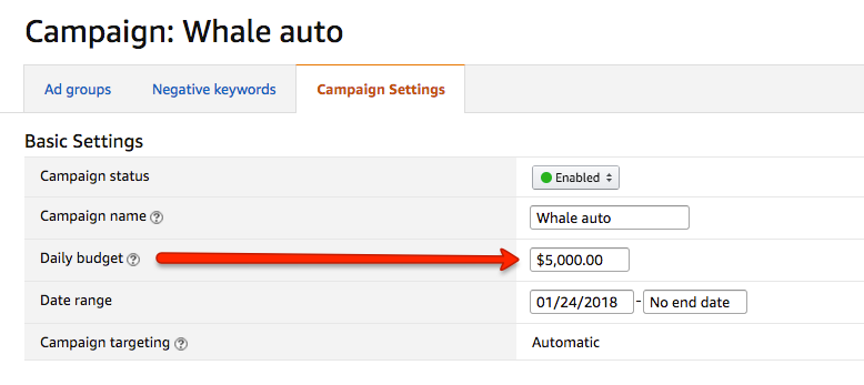 Seller Central Auto Campaign Settings