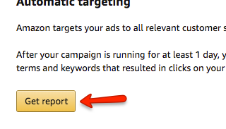 Amazon Advertising Manager Get Report Button