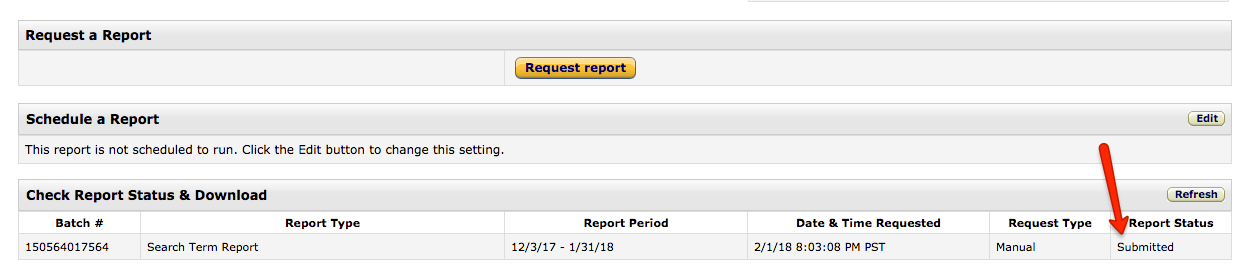 Seller Central Refresh Request Report
