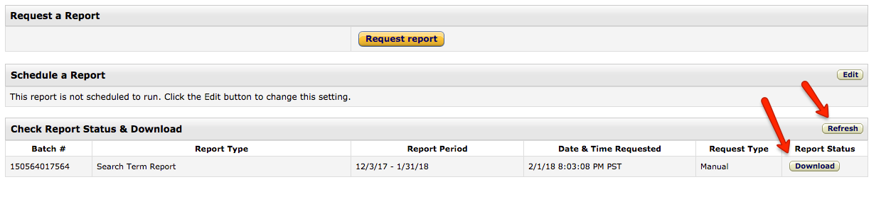 Seller Central requesting Excel Report