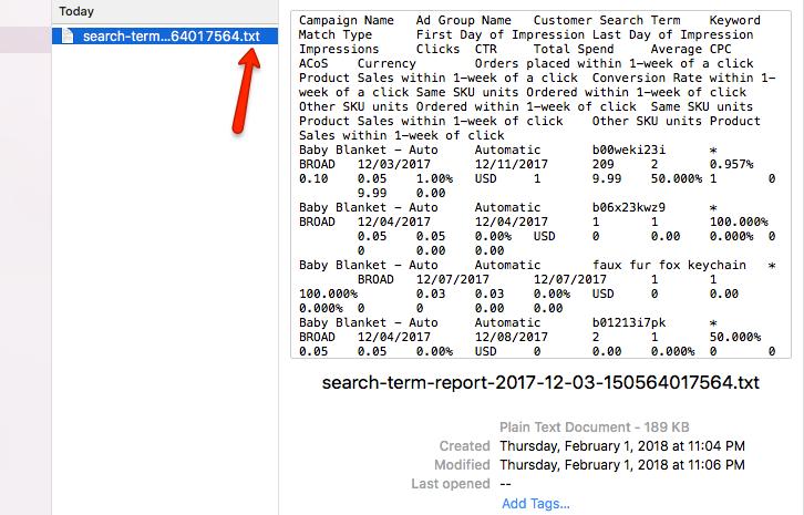 Seller Central Report Downloaded