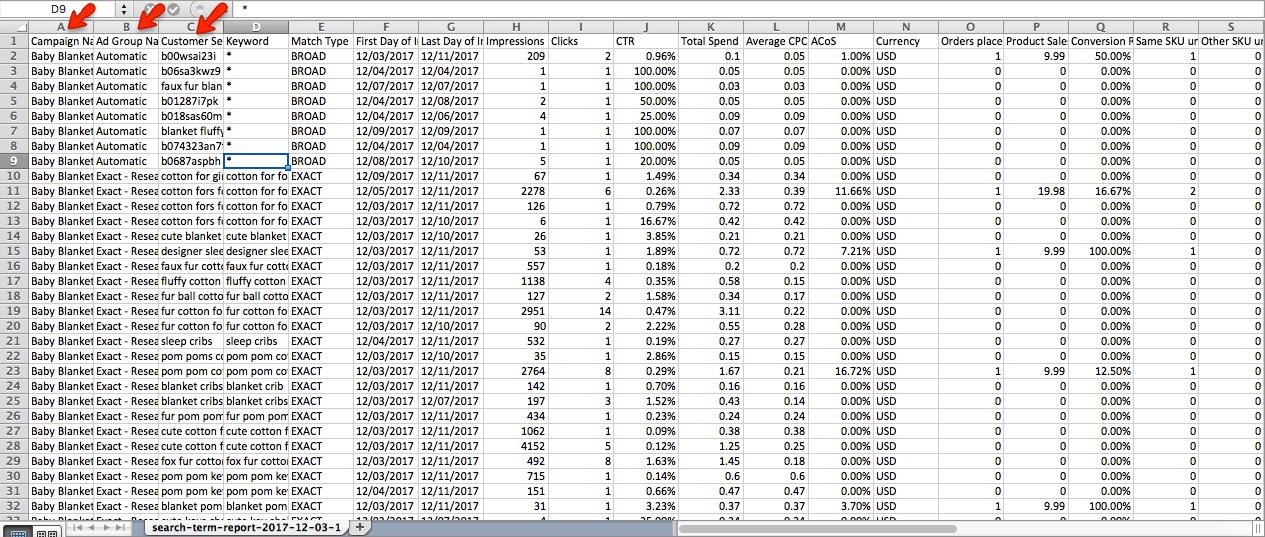 Excel Report Amazon Keywords