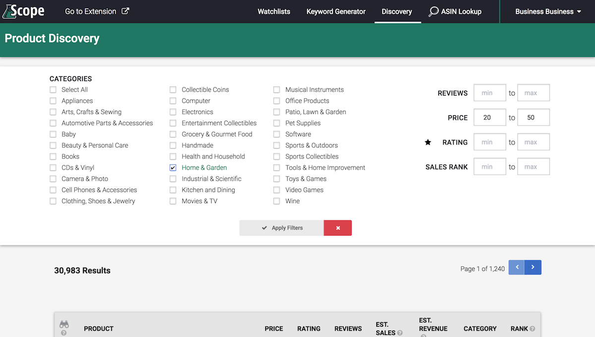 Seller Labs Scope Product Discovery Web App Screenshot