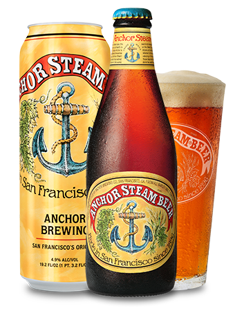 Anchor Steam Beer Bottle, Can, Pint Glass