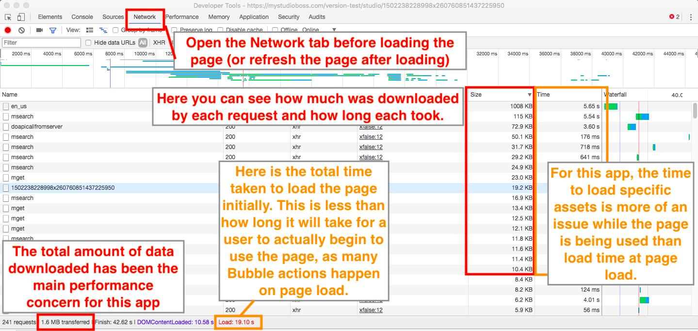 Dev tools view of website performance analysis