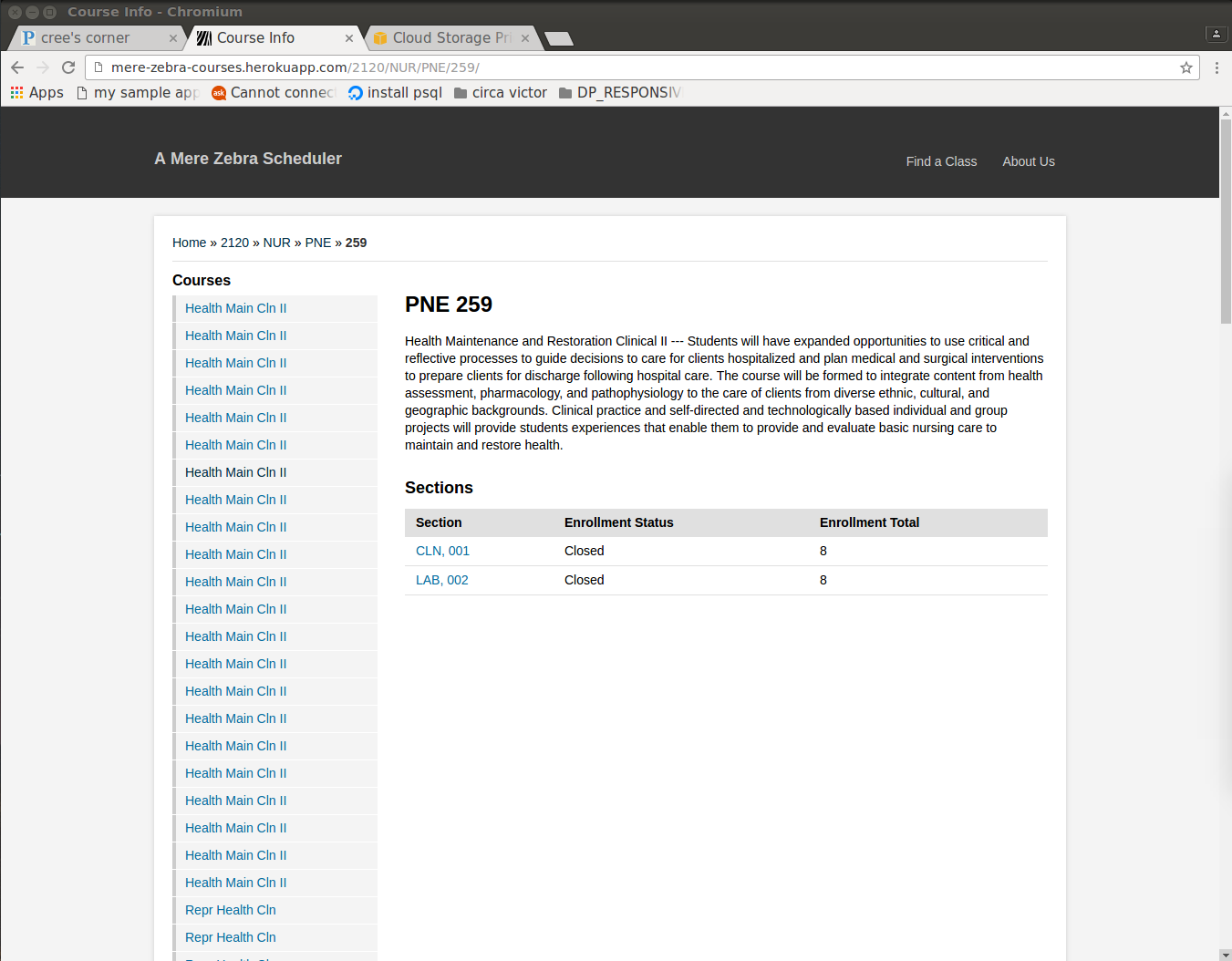 course browse page