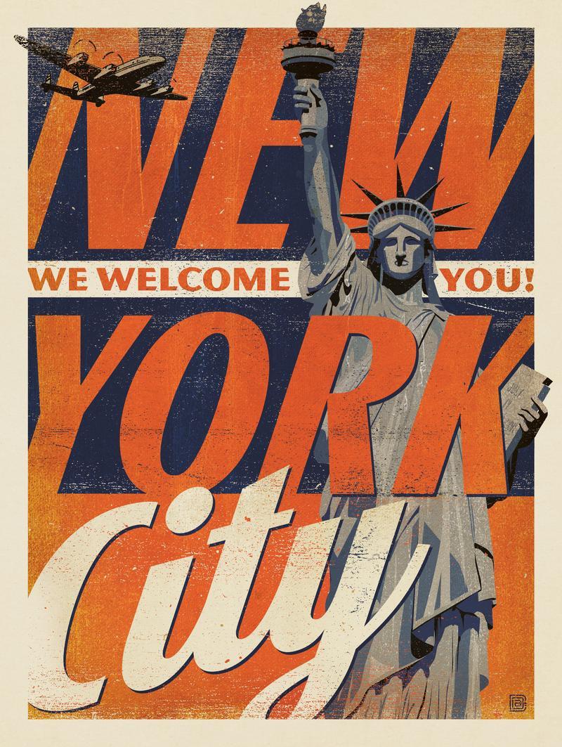New York Vintage Print: Liberty