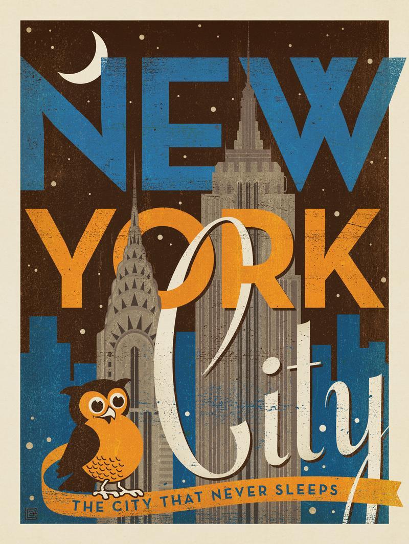New York Vintage Print: Night Owl