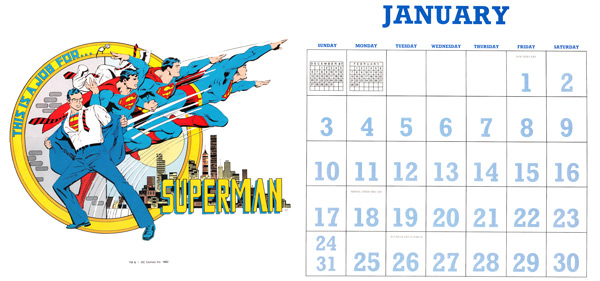 DC Comics Calendar 1988/2016 January