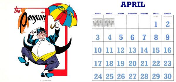 DC Comics Calendar 1988/2016 April