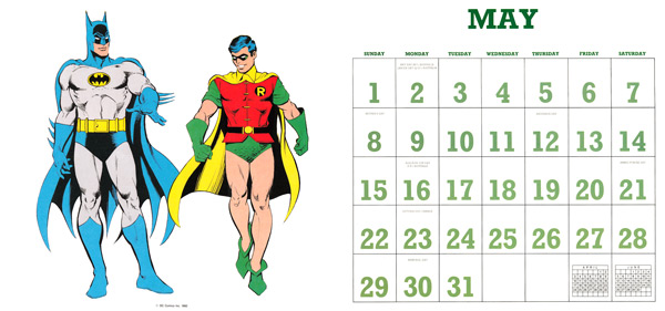 DC Comics Calendar 1988/2016 May