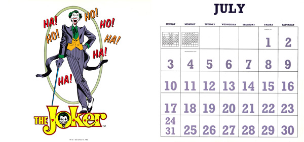 DC Comics Calendar 1988/2016 July