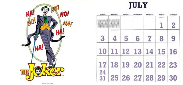 DC Comics Calendar 1988/2016 July