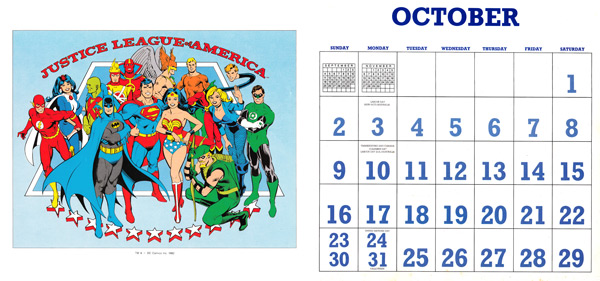DC Comics Calendar 1988/2016 October