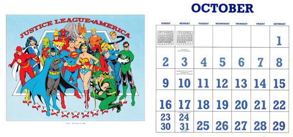 DC Comics Calendar 1988/2016 October