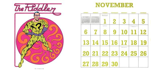 DC Comics Calendar 1988/2016 November