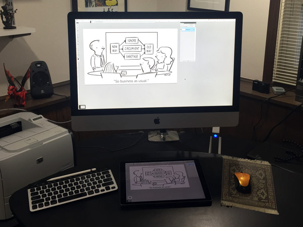 Apple Pencil in the Andertoons studio