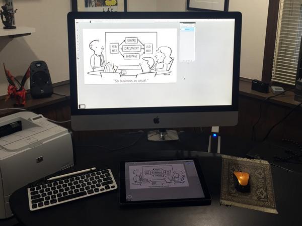 Apple Pencil in the Andertoons studio