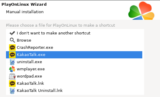 Shortcut selection window